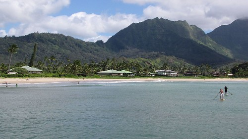 Hanalei Bay with Stand Up Paddlers