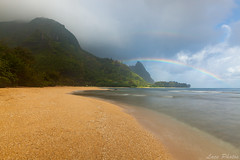 Rainbows on Tunnels Beach Kauai (Lace Photos www.lacephotos.com) Tags: mountain storm beach rain island hawaii coast sand kauai rainbows tunnels reef