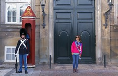 Me and guard (yuanxizhou) Tags: summertime denmark copenhagen morning tourist travelphoto traveleurope travelphotography royalpalace guard myself