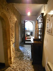 Castle Dairy. Kendal, Cumbria. The screens passage. (hercon2000uk.) Tags: screenspassage cobbledfloor pantry buttery masonsmark