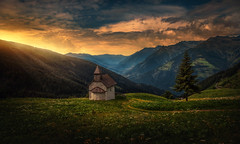 The Chapel (Chrisnaton) Tags: southtyrol mountains chapel landscape eveningmood eveninglight eveningcolors eveningsky nature hills sunbeams viewpoint panorama