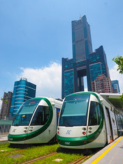(andy818102) Tags: kaohsiung taiwan building skyscraper attraction scenery spot famous lofty sky travel cloud track train rail mrt