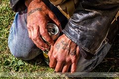 Vengence (Nathan Dodsworth Photography) Tags: people places drinking outdors light can hands weathered tattoos alchohol kneeling
