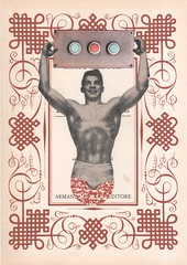 24th August - los dias contados : loudspeaker (kurberry) Tags: losdiascontados collage cutpaste collageaday vintageephemera bodybuilder maroon weightlifter