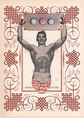 24th August - los dias contados : loudspeaker (kurberry) Tags: losdiascontados collage cutpaste collageaday vintageephemera bodybuilder maroon weightlifter