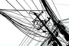 wires (beijing, china) (bloodybee) Tags: wire cable electricity backlight highkey hutong beijing china asia travel black white bw 365project
