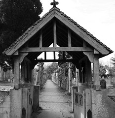 Archway (ZoeBee2) Tags: church outside brigde bridge archway arch arches gate poppy trees treestump blackandwhite black white gravestone gothic