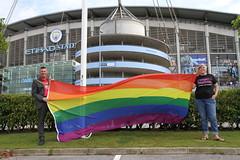 Etihad rainbow flag raising  (38) (villagemanchesterfc) Tags: rainbowflag manchestercity manchestercityfc manchestercityfootballclub football soccer gayfootball gaysoccer gay homosexual bisexual canalstreetblues etihadstadium