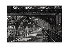 nyc#92 - Williamsburg Bridge (Nico Geerlings) Tags: williamsburg brooklyn manhattan lowereastside bridge williamsburgbridge patterns steel pedestrian walkway ngimages nicogeerlings nicogeerlingsphotography leicammonochrom 50mm summilux nyc ny usa us newyorkcity pedestrians