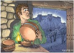 Matthew 05 - Parable of lamp on stand - Lamp and city (Martin Young 42) Tags: matthew matthew514 gospel sermononthemount man ceramic pottery bowl oillamp lamp light city hill cityonhill