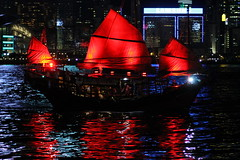 Hong Kong_boat by night_IMG_8117 (Hlne (HLB)) Tags: hongkong hong kong hk boat bateau night nuit nacht water wasser eau reflet reflection red rouge rot asia asie jonque schiff