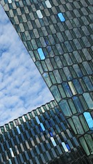 What's Your Angle (Alex L'aventurier,) Tags: reykjavik iceland islande building concerthall architecture angle blue sky ciel patterns geometry gomtrie nuages clouds fentres windows harpa city ville urbain urban tilt