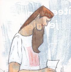# 265 (21-09-2016) (h e r m a n) Tags: vrouw herman illustratie tekening bock oosterhout zwembad 10x10cm 3651tekenevent tegeltje drawing illustration karton carton cardboard woman lezer lezen read reading reader book boek