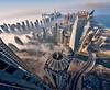 Vertigo Fog (DanielKHC) Tags: morning panorama tower lines vertical fog marina nikon dubai infinity uae vertigo d800 danielcheong danielkhc vertorama nikkor1424mmf28 princesstower photoengine oloneo