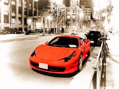 Ferrari 458 Italia (Matthias Harbers) Tags: auto street red blackandwhite bw car japan night canon tokyo sketch italia nacht strasse ferrari powershot labs dxo tokyotower motor supercar hdr sportscar topaz g11 automobil dreamcar 458 3xp photomatix akvis flickraward