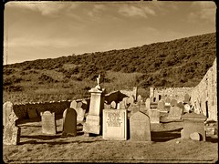 As it might have looked... (pefkosmad) Tags: church sepia aberdeenshire graves tombs kirk gamrie gardenstown stjohnskirkyard picmonkey