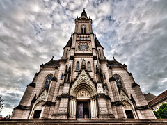Jesus's Heart Church, Kszeg, Hungary (forceberg) Tags: autumn sky cloud brown church nikon europe angle wide sigma hdr 2012 10mm
