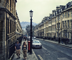 A Trip to Bath, United Kingdom (` Toshio ') Tags: road street city england sky people woman man lamp car architecture buildings bath couple europe cityscape unitedkingdom somerset tourists europeanunion toshio