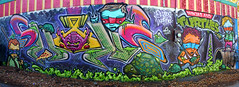 Shape Wundr (The Braindead) Tags: street green art minnesota wall train bench photography graffiti paint power painted tracks minneapolis twin rail pizza explore beyond mutant shape ooze teenage the braindead cites shape2 shaper wundr