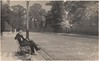 """Real photo postcard of man on bench """"at Ealing, 1923"""" • <a style=""""font-size:0.8em;"""" href=""""http://www.flickr.com/photos/24469639@N00/8113953620/"""" target=""""_blank"""">View on Flickr</a>"""