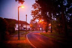 (drfugo) Tags: road street morning autumn houses light england lamp lines sussex bokeh depthoffield explore lampost crawley threebridges explored canon5dmkii nikon55mmf12s nikkors55mmf12typeiv