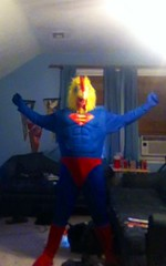 Super Chicken (ChickenJay) Tags: blue bird chicken yellow costume transformation mask beak suit hen birdbrain zentai