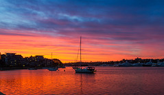 Glebe Sunset (mraadsen) Tags: sunset red seascape sailboat landscape glow harbour dusk sydney australia bluesky nsw newsouthwales glebe blackwattlebay colouredsky coloursinourworld canoneos550d 1585mmf3556isusm