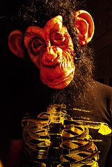 Close-up (fieldsofillusion) Tags: monkey costume mask gorilla miami surreal bloody hotline willem violent