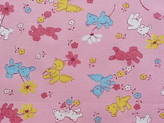 Vintage 1940's Fabric Bears and Bunnies on Pink (Niesz Vintage Fabric) Tags: pink flowers blue cute bunnies floral animals yellow daisies vintage bears 1940 vintagefabric fabric 1940s novelty daisy childrens juvenile 40s