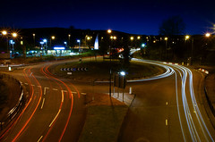 Chilly Evening Long Exposure (Chris D. Jones) Tags: road street uk bridge light red white cold car wales night dark lights movement long exposure traffic pavement sony united release tripod trails sigma kingdom mcdonalds sidewalk shutter chilly alpha merthyr 18200mm tydfil a580