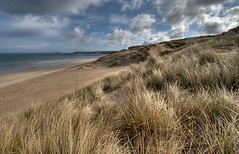 Hayle Sand Dunes and Godrevy Lighthouse (rosiespoonerphotos) Tags: uk sea england seascape beach water landscape coast cornwall sanddune stives hdr westcountry coastpath swcp hayle wideanglelens godrevylighthouse photomatix d5000 rosiesphotos nikond5000 tamronspaf1024mmf3545diiildasphericalif rosiespooner 1flickrmaybe4 rosyrosie2009 rosemaryspooner rosiespoonerphotography