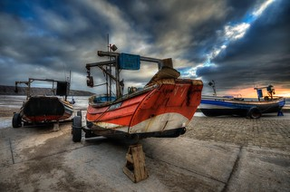 Coble boats on Filey Landing