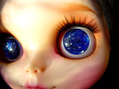 "Blythe handpainted eyechips ""Blue Galaxy"""