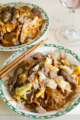 Korean Sweet Potato Noodles with Beef (Foodie Baker) Tags: food cooking vegetables dinner lunch mushrooms cuisine potatoes beef country egg meat korean meal cabbage garlic noodles carrots onion recipes sweetpotato shiitake