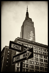 Empire State of Mind (Feldore) Tags: street new york building art sign architecture skyscraper vintage way one state sony empire deco mchugh rx100 feldore