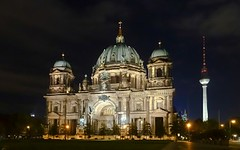 Berliner Dom & Fernsehturm Tower illuminated at night, Berlin (Sir Francis Canker Photography ) Tags: plaza trip travel panorama west berlin muro history tourism beautiful wall skyline museum architecture night germany square landscape island deutschland nice puerta gate europa europe euro dom dramatic landmark visit icon tourist illuminated unesco east charlie reichstag rda vista nocturna alemania tor paco visiting mur allemagne brandenburg gdr icono berliner germania mauer checkpoint lucena gendarmenmarkt exposre  branderburger   sirfranciscankerjones   cabezalopez   pacocabezalopez