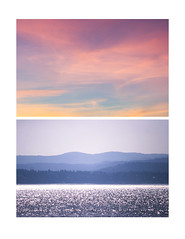 Sea and Sky Diptych (Sydney K.) Tags: sea sky ocean sealine sparkle shiny purple blue mountain mountains trees lines sunset sun yellow clouds whisps pink diptych