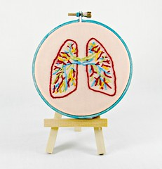 Small Anatomical Lungs Hand Embroidery Wall Decor (Hey Paul Studios) Tags: blue body embroidery breath peach cubicleart organ doctor anatomy nurse lungs needlecraft walldecor lungcancer medicalart kcetsyteam