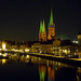 Lübeck an der Trave bei Nacht