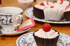 Red velvet cupcake with strawberry cream cheese icing (Flashmunki) Tags: food cake scotland other edinburgh unitedkingdom lothians facebook