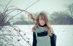 Stuck (ZsuMaksa) Tags: family winter portrait woman snow cold colors girl weather hair grey solitude alone sad stuck gray down blond lonely portfolio climate decadence grief haircolor