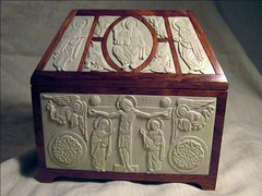 Carved Reliquary (jonathanpageau) Tags: sculpture art gabriel michael miniature ivory casket icon carving medieval christian romanesque orthodox nativity crucifixion anastasis reliquary steatite deisis