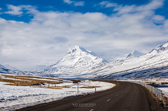 highway and snow mountain in Iceland (Kanonsky) Tags: snow alpine alps atlantic beautiful clouds cold glaciers highland highway iceland landscape middle mountain nature road trail travel volcanic winter
