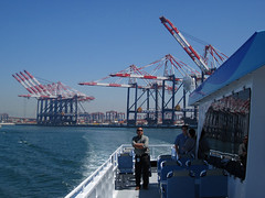 On the Tour Boat in Long Beach Harbor (Robb Wilson) Tags: longbeachharbor tourboats cargocranes shipping freephotos