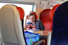 (fran&ois) Tags: boy union jack blue red white portrait train