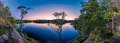 The August Moon over the Lake in Tyresta National Park (ZoeEnPhos) Tags: tyrestanationalpark primevalforest fissurevalleylake lake tyresta spegelblanksj stillhet mirrorcalm reflexions twilight sweden canonef14f28liiusm lightroompanorama