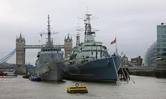 HMS Belfast & U27 (Brasil) (surreyblonde) Tags: london thames riverthames river water tide boats ships tidal portoflondon vessel floating canon g15 u27 brasil hmsbelfast towerbridge trainingship riodejanero battleship