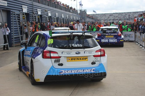 Jason Plato joins Gordon Shedden and Mat Jackson in Parc Ferme at Rockingham, August 2016