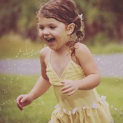 Sprinkler Fun (Pinkdragonflydeb) Tags: yellow outside water sprinkler joy summertime running smile fun