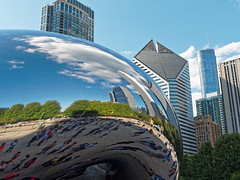 Reflections of the City (JY_Photos) Tags: olympus omdem5markii microfourthirds mft micro43 dxooptics mzuikoed1240mmf28pro 1240mmf28pro jyphotos usa chicago reflections cloudgate sculpture attplazaatmillenniumpark illinois sky clouds buildings trees city